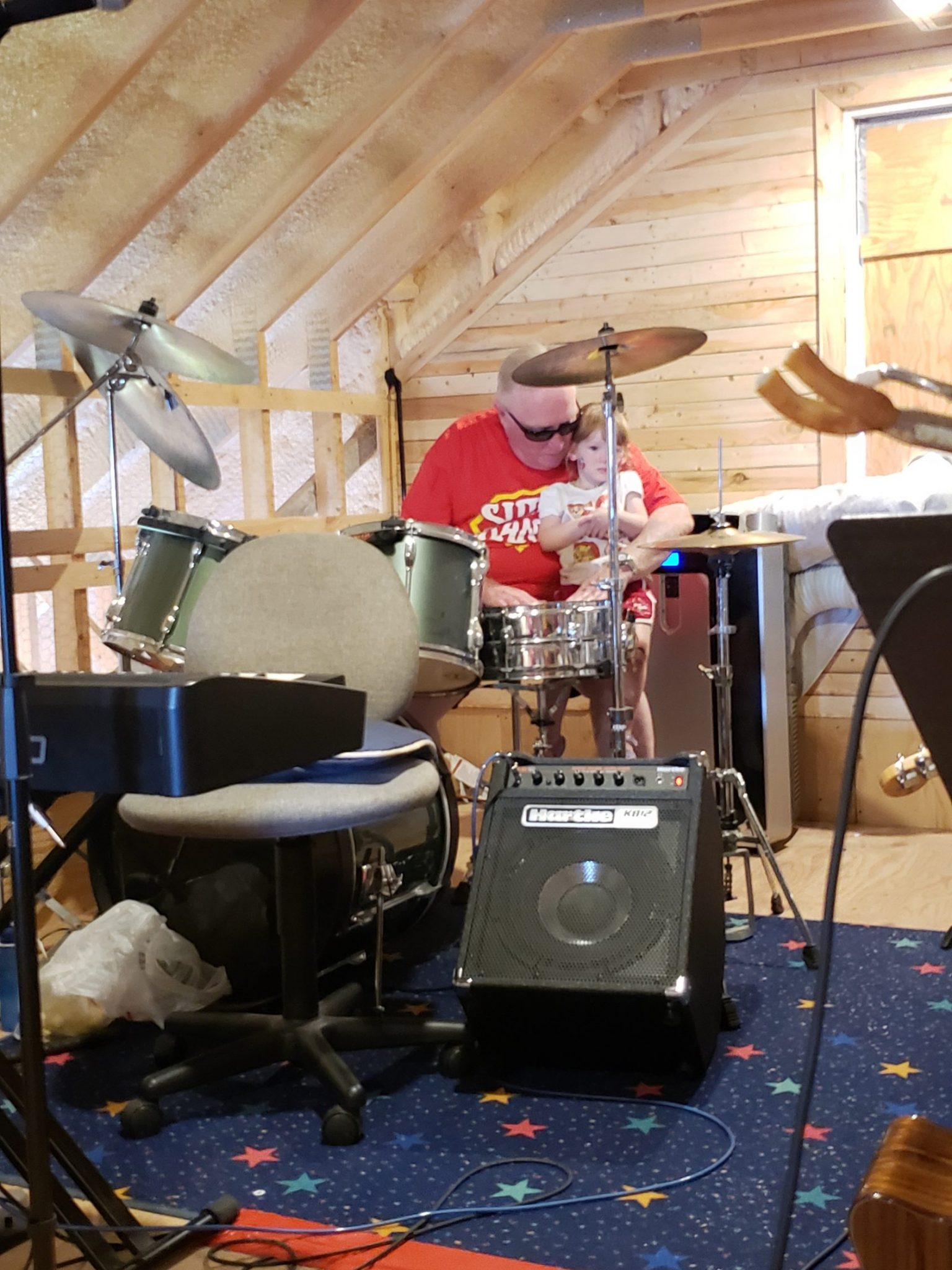 Grampa Plays Drums With Me