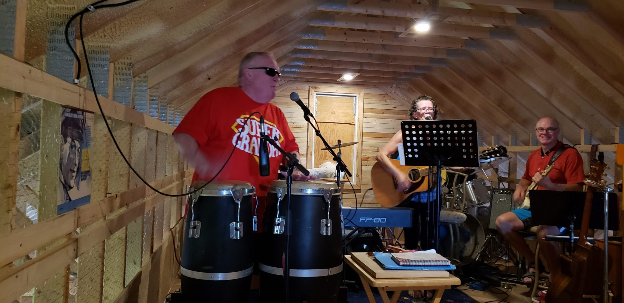 Dave Perry plays congas.